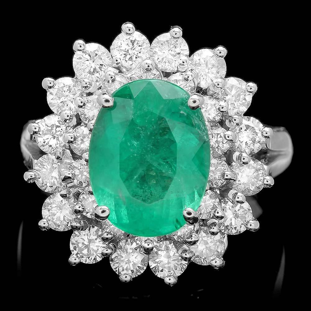 14k White Gold 2.50ct Emerald 1.60ct Diamond Ring