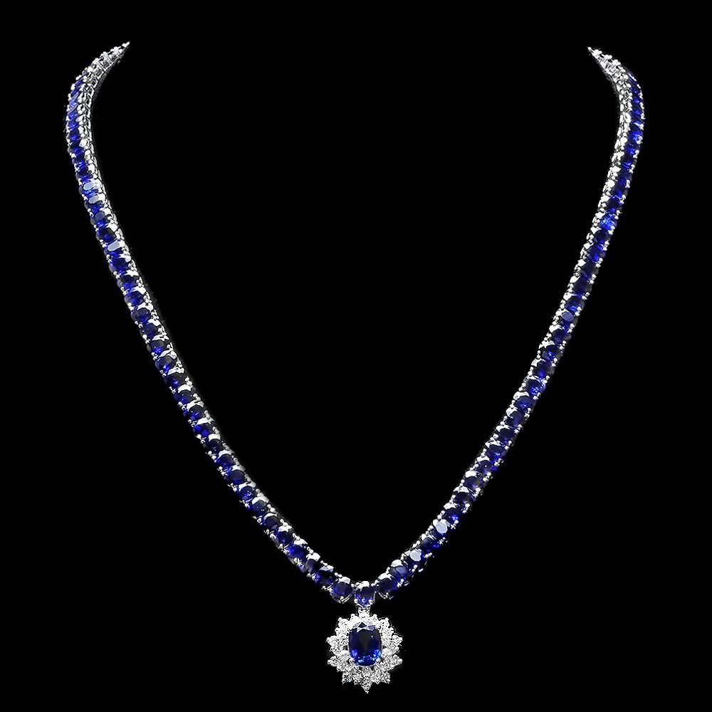 14k Gold 53.2ct Sapphire 1.20ct Diamond Necklace