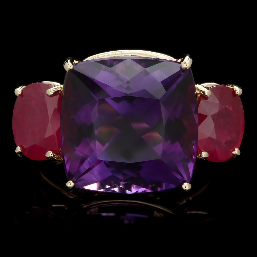 14k Yellow Gold 11.50ct Amethyst 3.50ct Ruby Ring