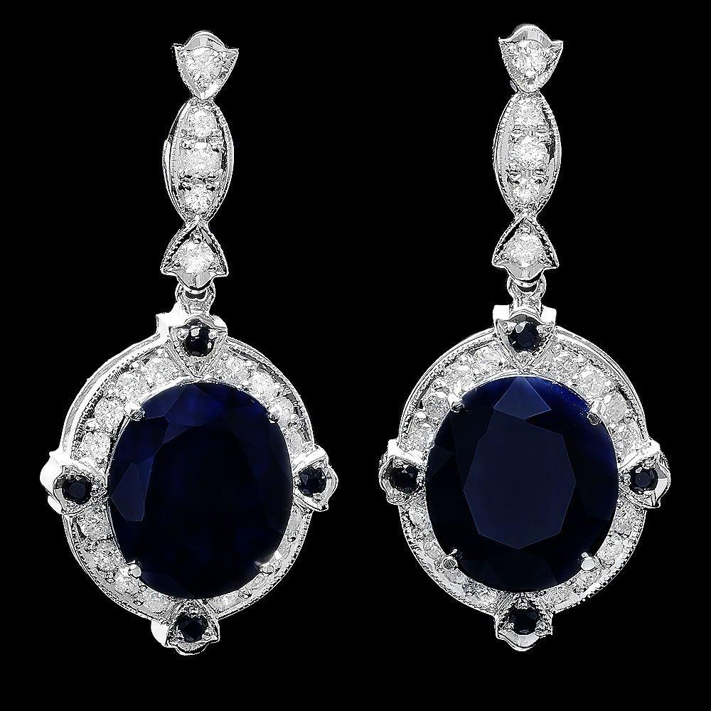 14k Gold 20ct Sapphire 1.10ct Diamond Earrings