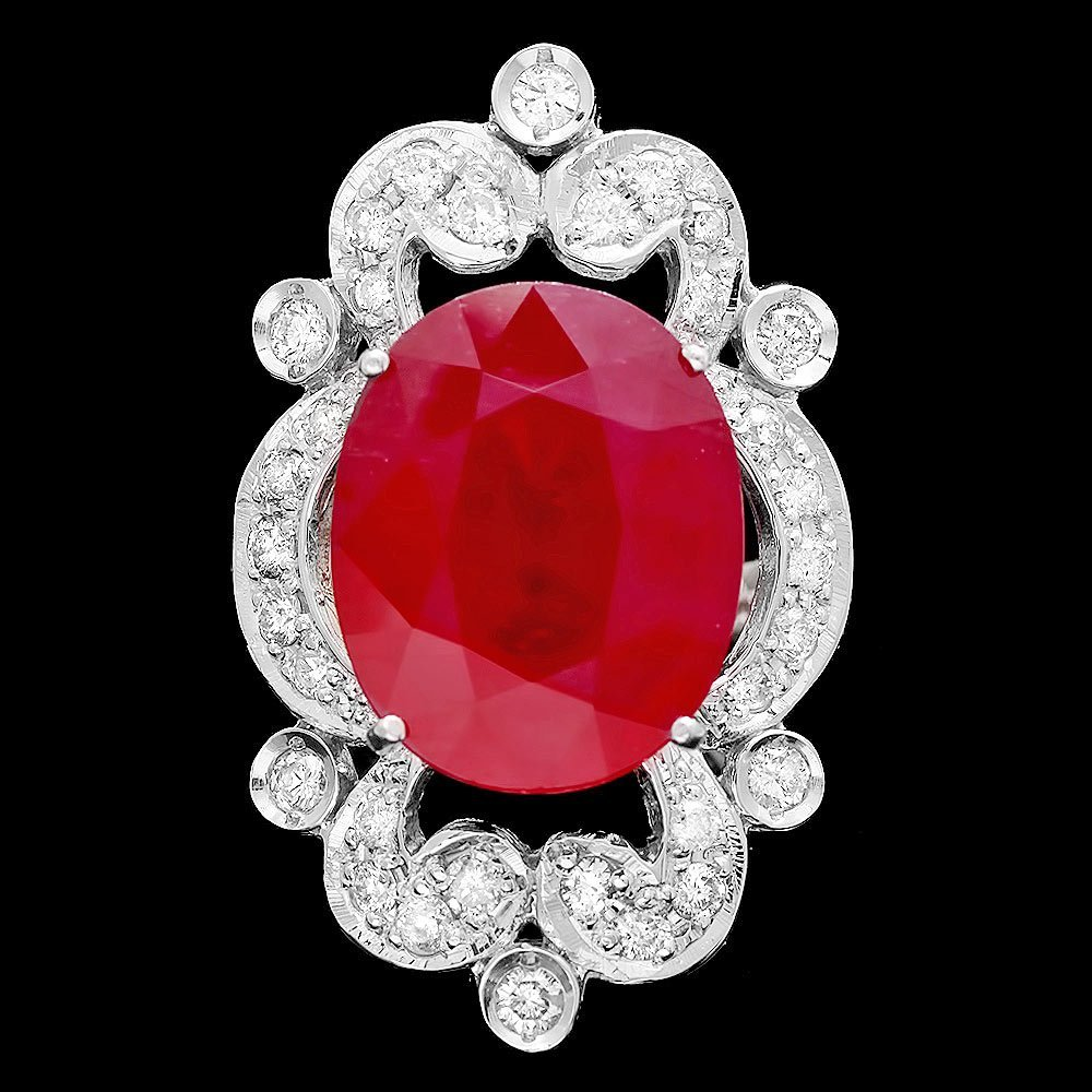 14k White Gold 13.50ct Ruby 1.15ct Diamond Ring