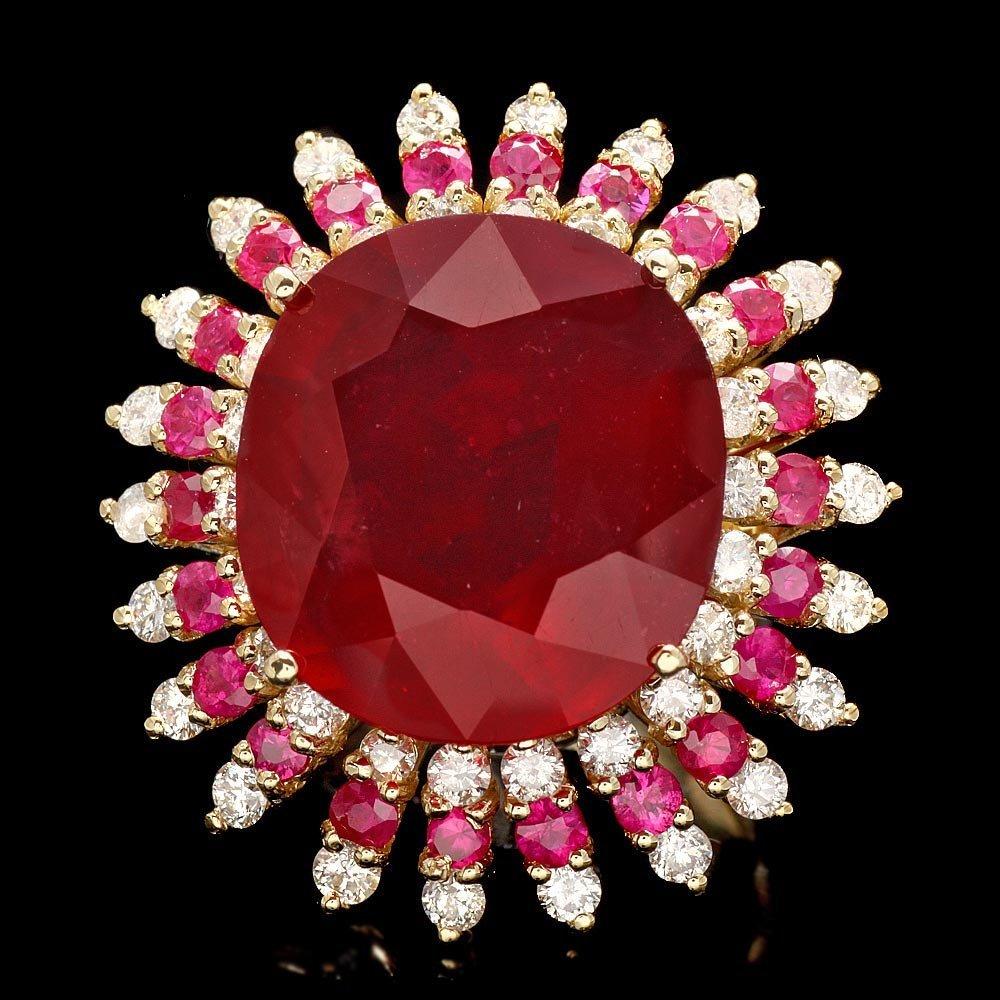 14k Yellow Gold 24.1ct Ruby 1.70ct Diamond Ring