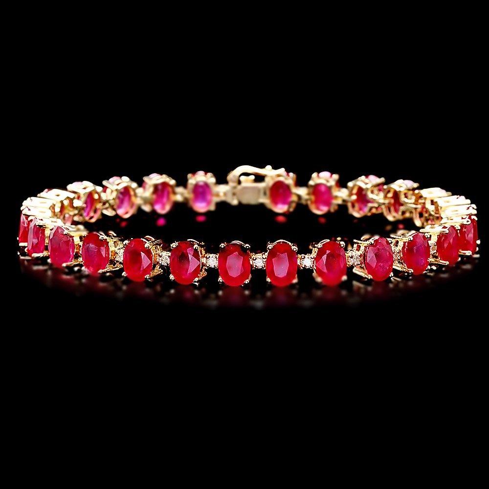 14k Gold 32.00ct Ruby 0.80ct Diamond Bracelet