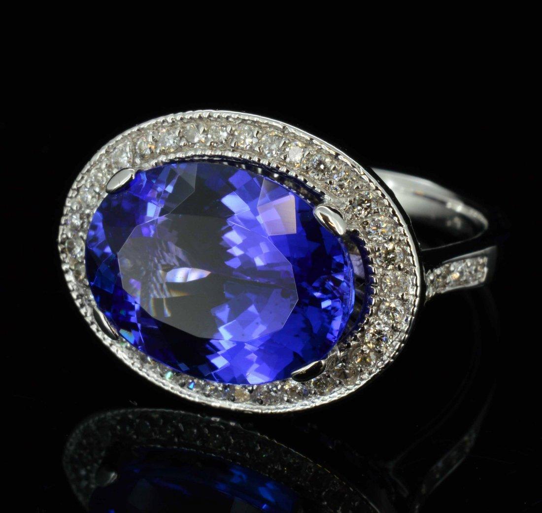 14KT Gold, 5.90ct Tanzanite & 0.34ctw Diamond Ring
