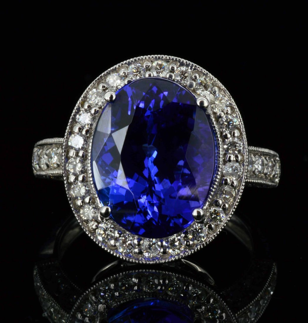 14KT Gold, 6.10ct Tanzanite & 0.72ct Diamond Ring
