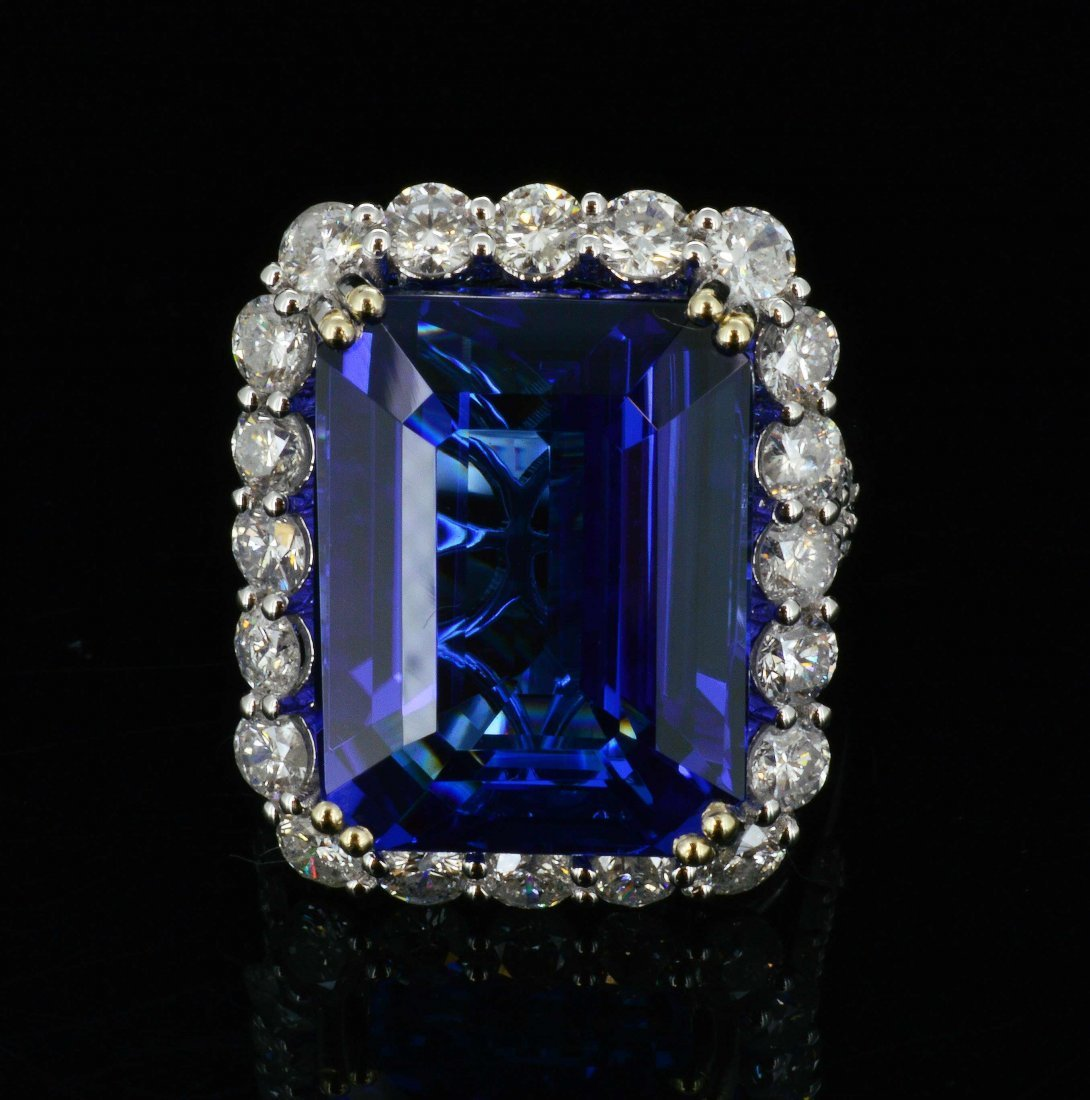 18K Gold, 20.49 CT Tanzanite & 2.20CT Diamond Ring