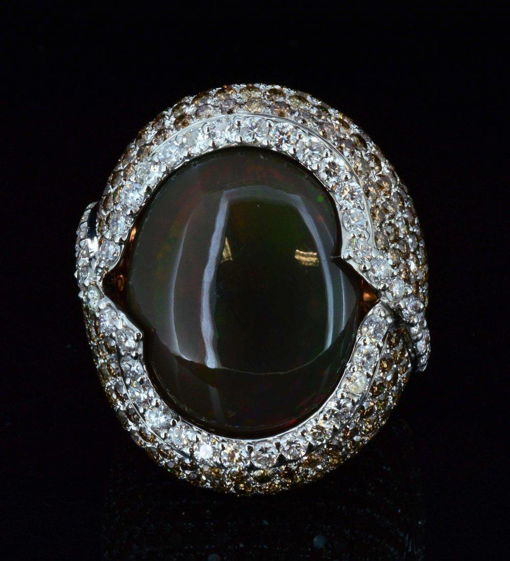 18K Gold, 10.73CT Fancy Color Opal & 6.88CT Diamond
