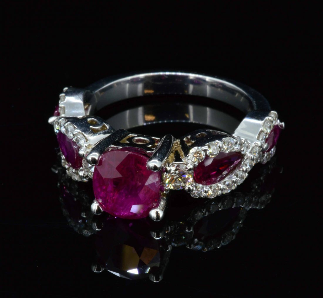 14K White gold, 2.09cts Ruby, 1.29cts Marquis & 0.64cts