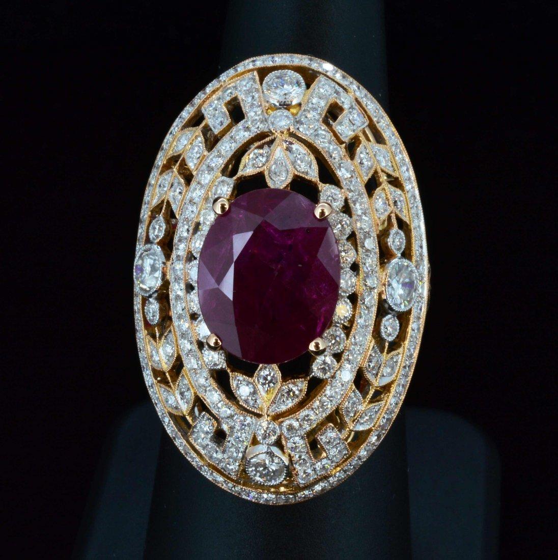 18K Gold, 4.07CT Ruby & 2.51CT Diamond Ring
