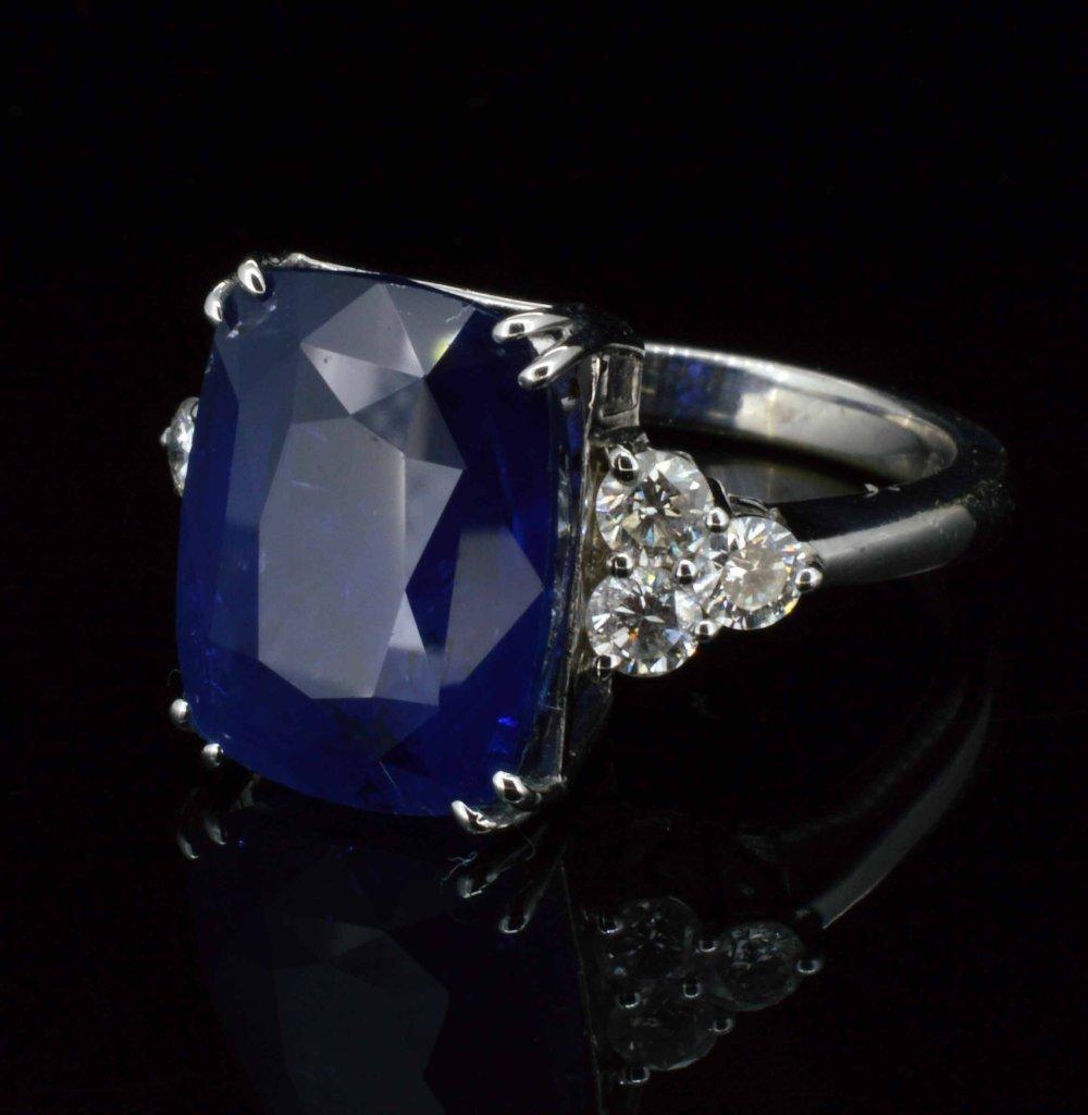 14KT Gold, 13.39 Sapphire & 0.65ct Diamond Ring