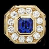 18k Gold 25ct Sapphire 320ct Diamond Mens Ring