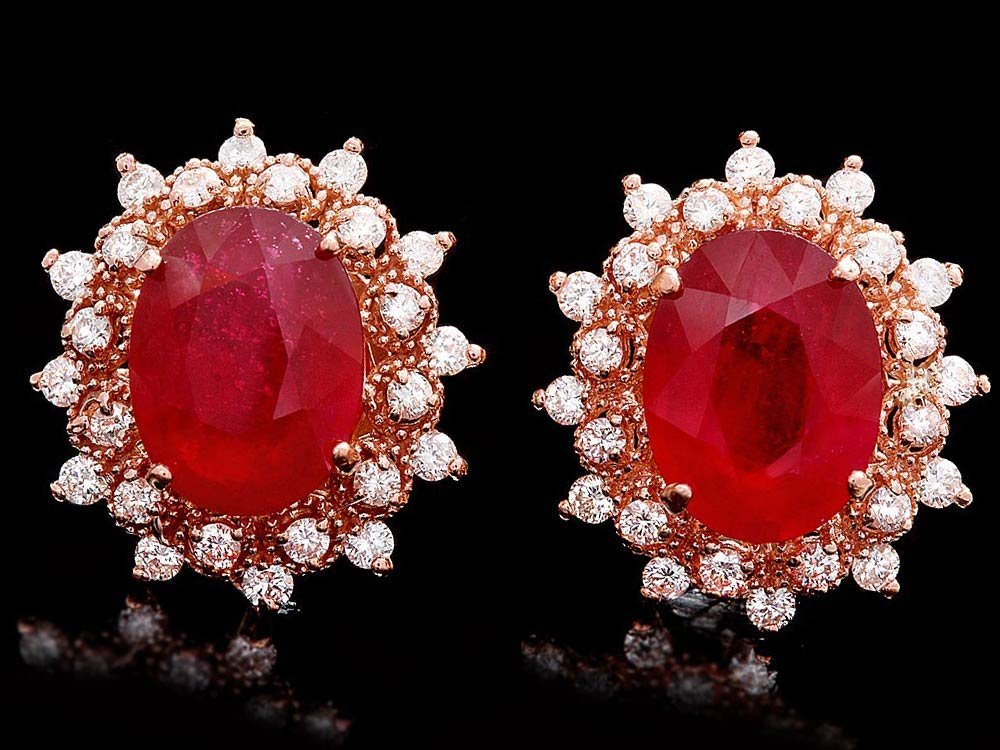 14k Rose 11.00ct Ruby 1.30ct Diamond Earrings