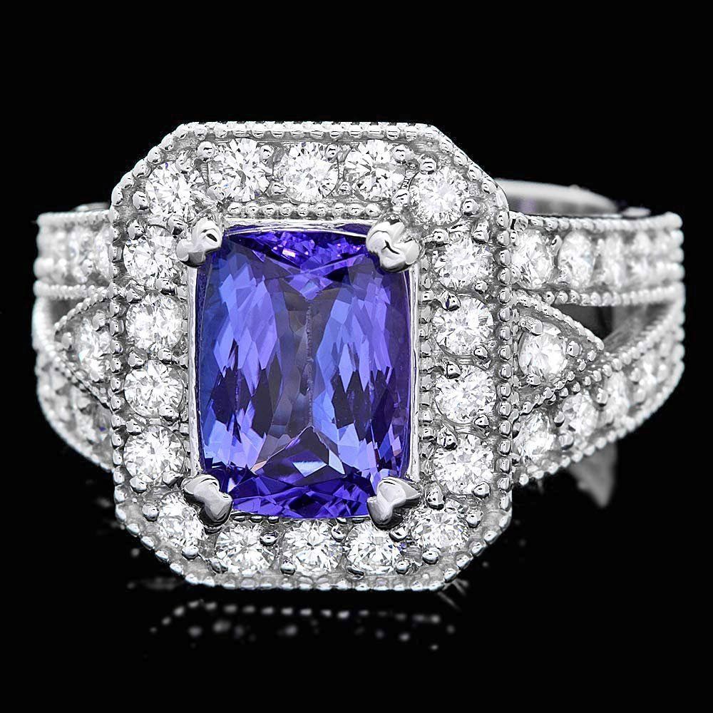14k Gold 2.50ct Tanzanite 1.25ct Diamond Ring
