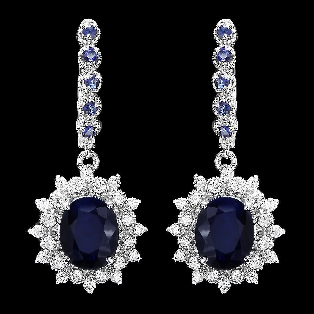 14k Gold 6.4ct Sapphire 1.00ct Diamond Earrings