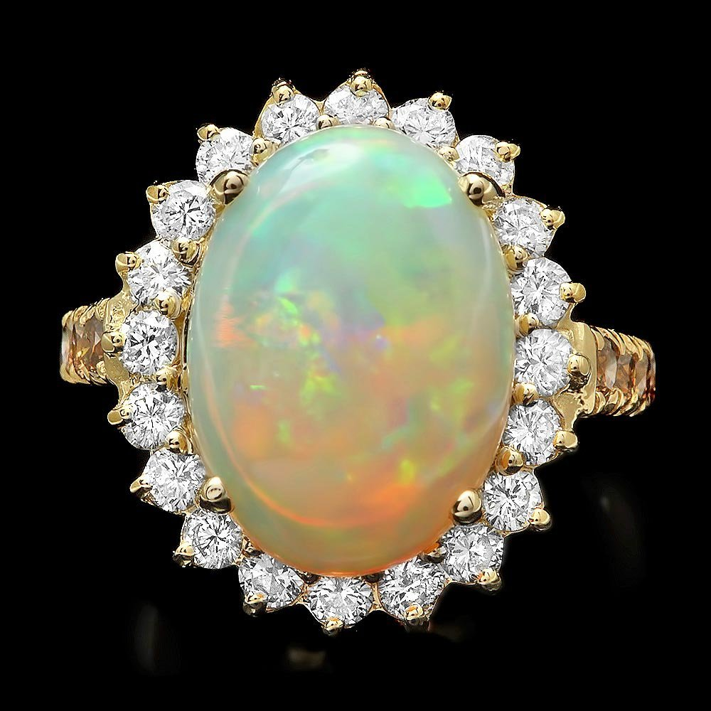 14k Yellow Gold 5.00ct Opal 1.35ct Diamond Ring