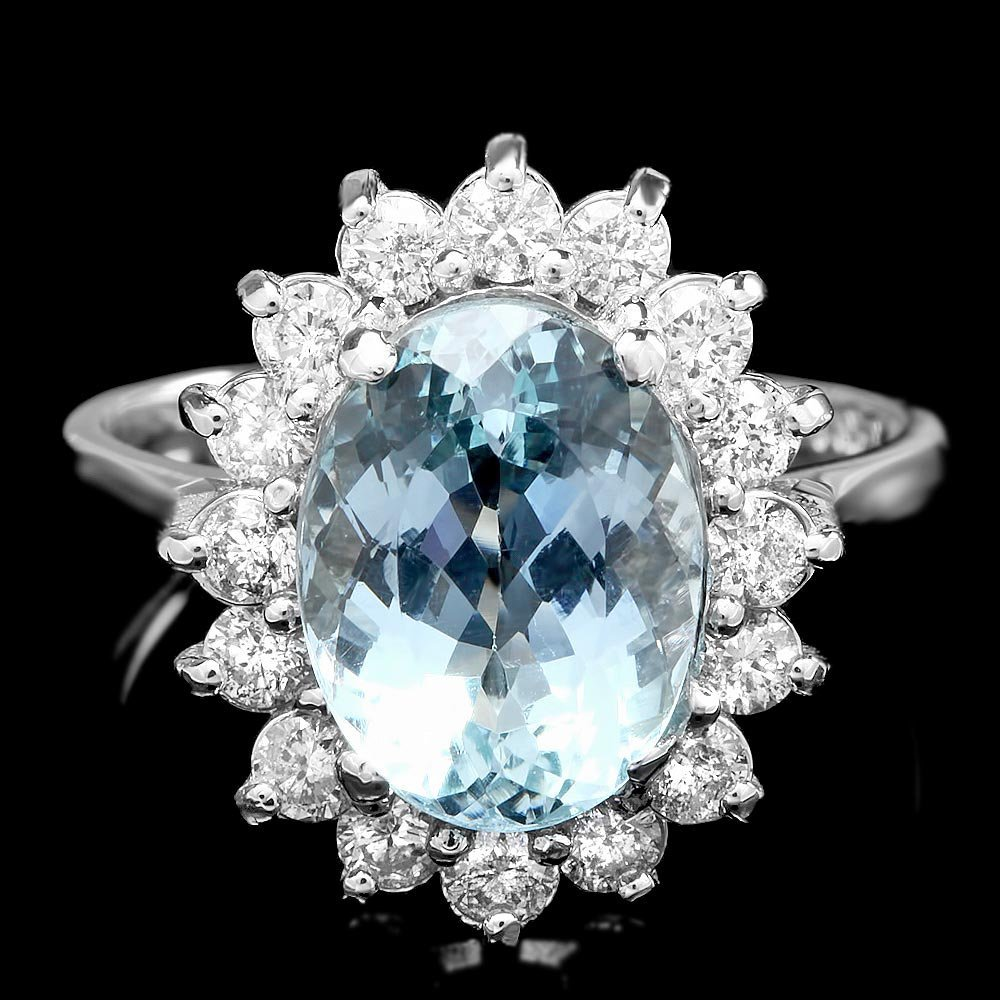 14k Gold 3.20ct Aquamarine 0.75ct Diamond Ring
