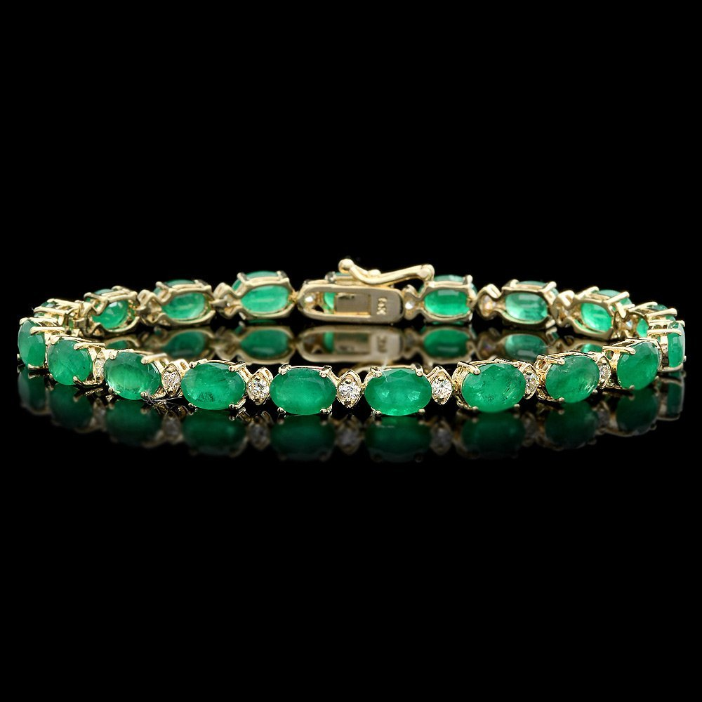 14k Gold 13ct Emerald 0.85ct Diamond Bracelet