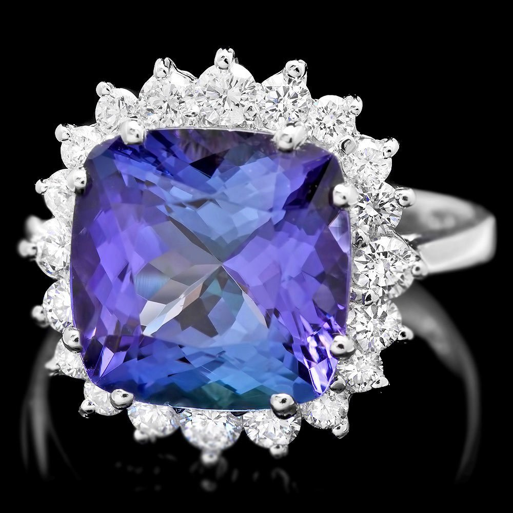 14k Gold 5.50ct Tanzanite 0.80ct Diamond Ring