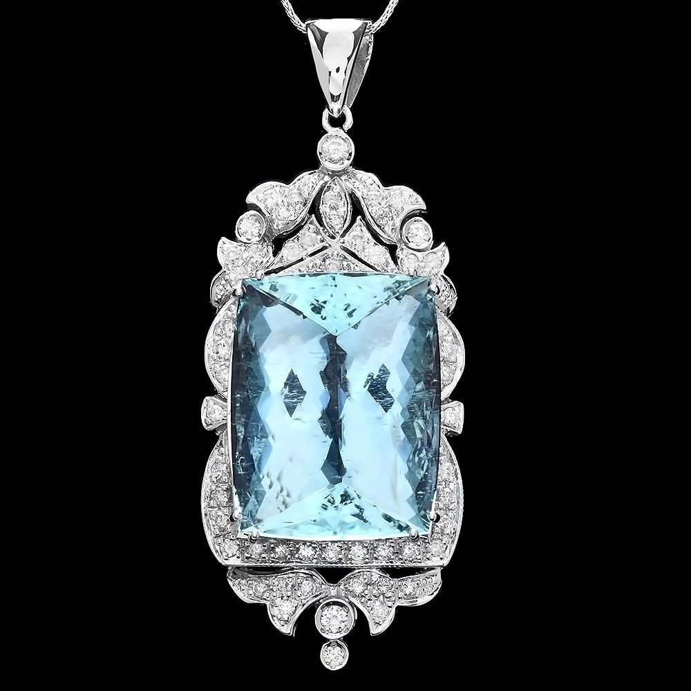 14k Gold 44ct Aquamarine 2ct Diamond Pendant