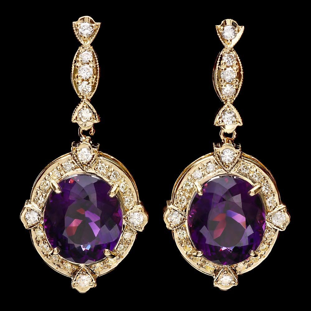 14k Gold 16ct Amethyst 1.45ct Diamond Earrings