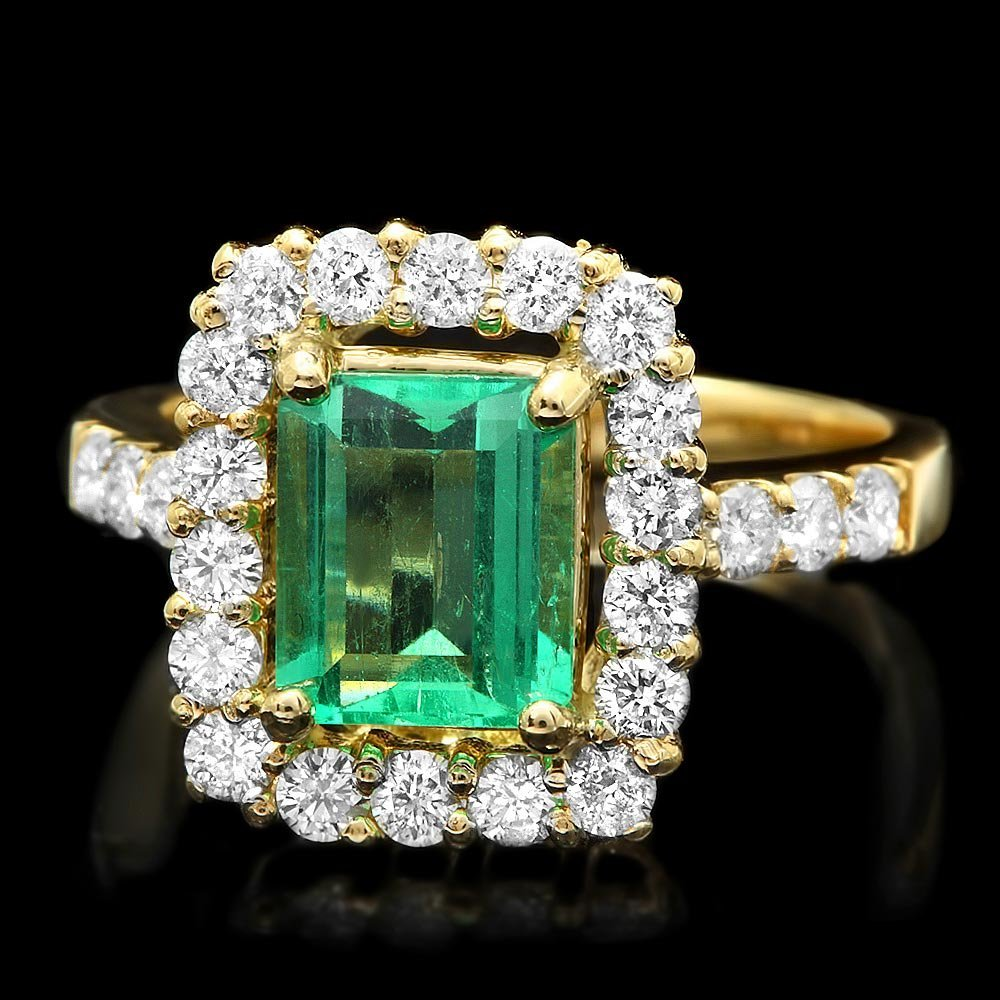 14k Gold 1.80ct Emerald 1.00ct Diamond Ring