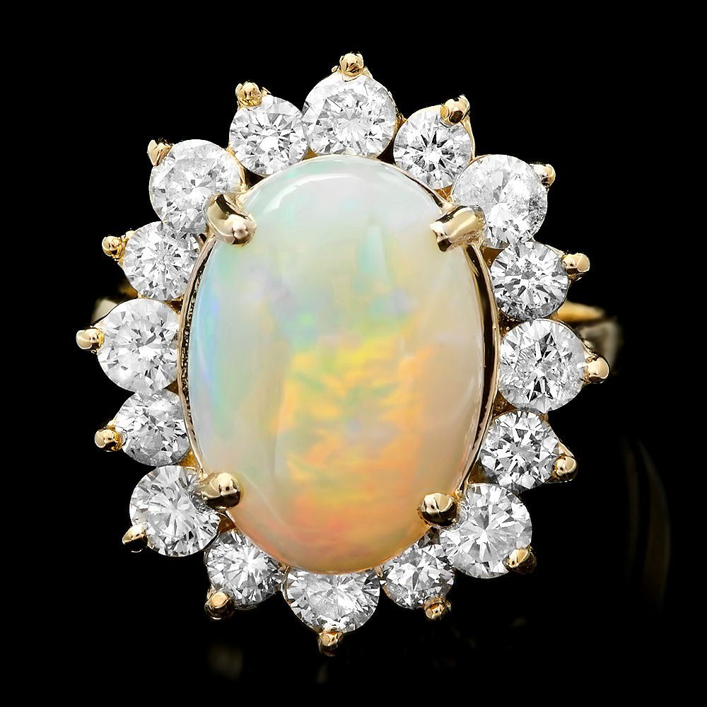 14k Yellow Gold 4.00ct Opal 1.70ct Diamond Ring