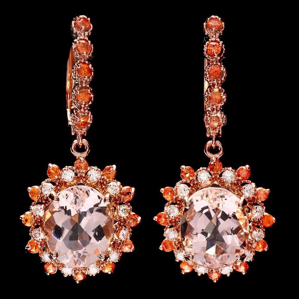 14k Rose 9ct Morganite 0.80ct Diamond Earrings