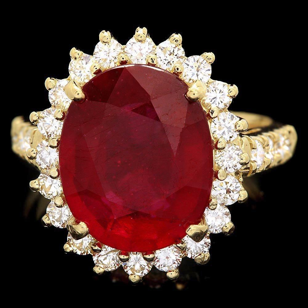 14k Yellow Gold 7.00ct Ruby 1.15ct Diamond Ring