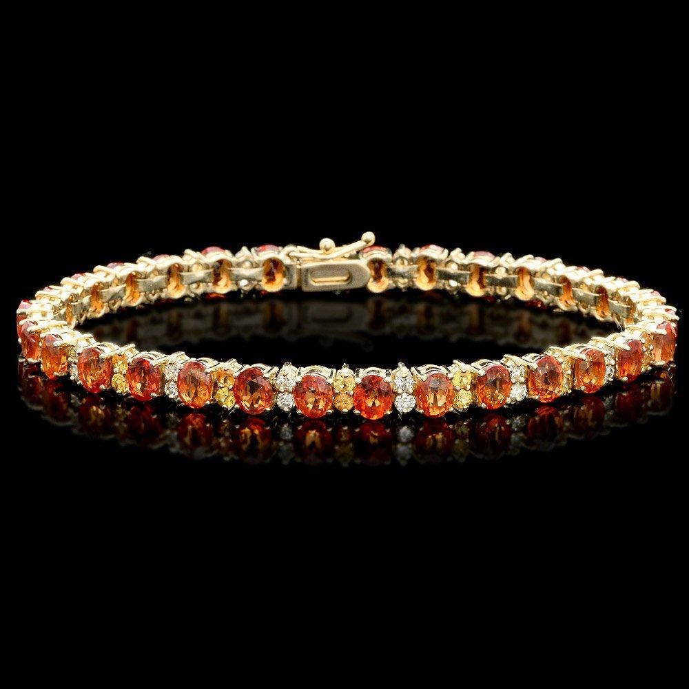 14k Gold 19.5ct Sapphire 1.20ct Diamond Bracelet