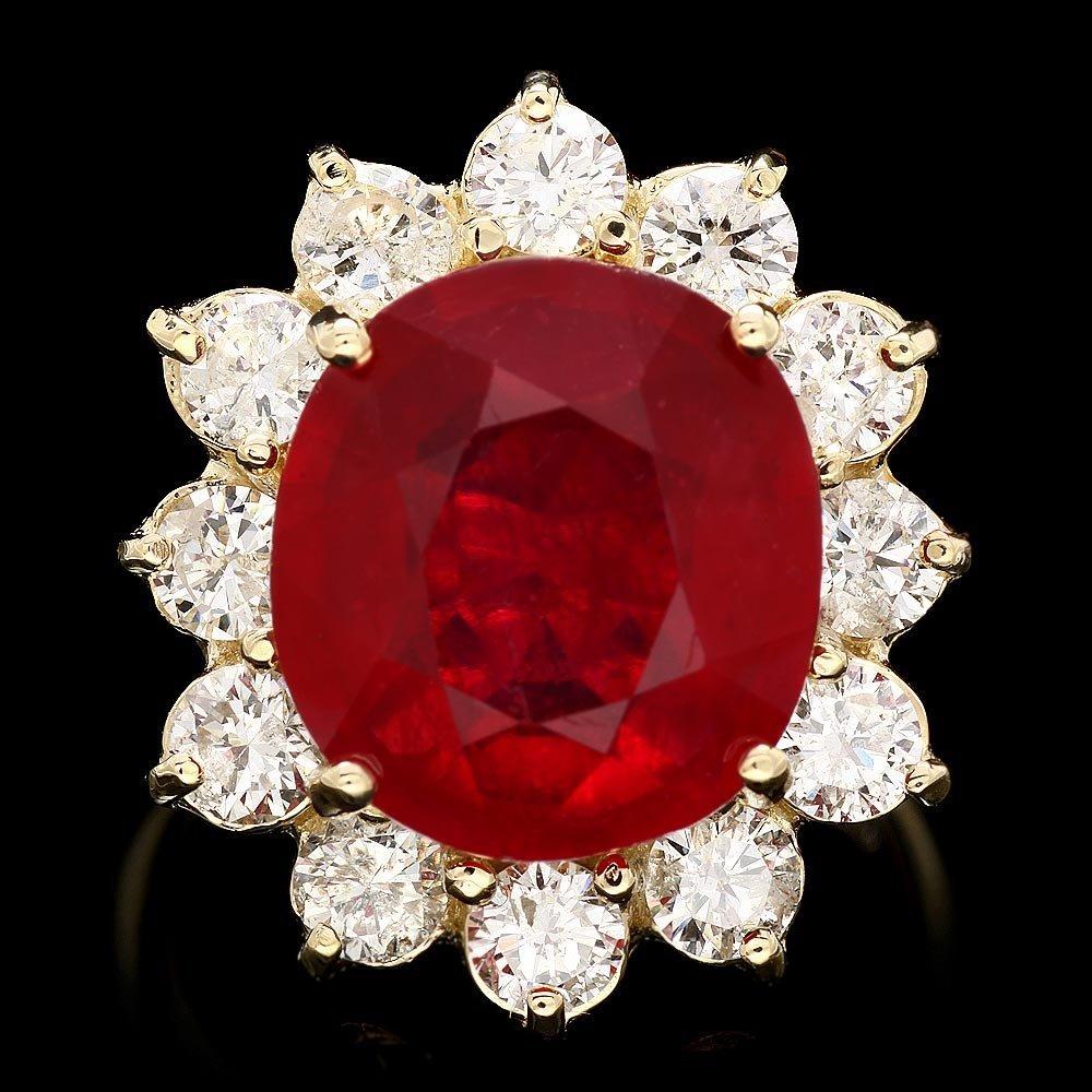 14k Yellow Gold 9.00ct Ruby 1.90ct Diamond Ring