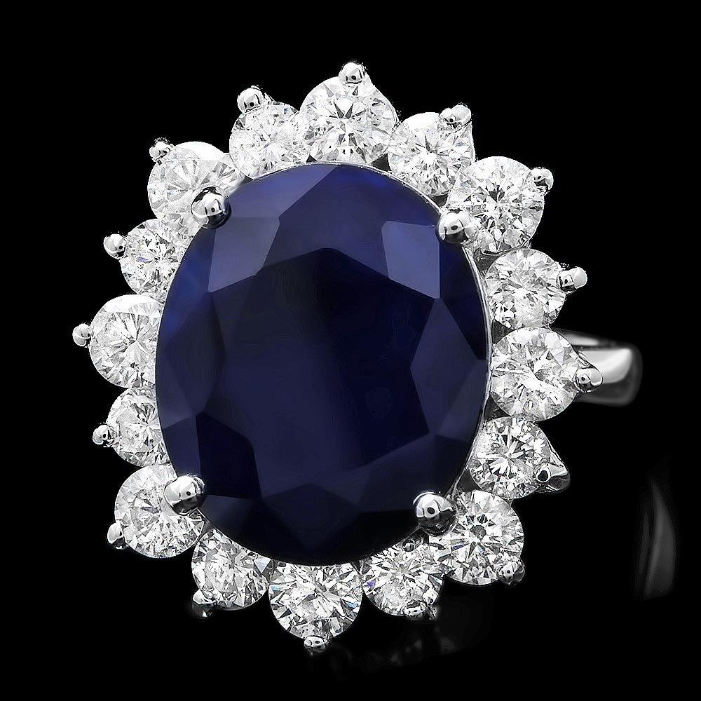 14k Gold 9.00ct Sapphire 2.00ct Diamond Ring