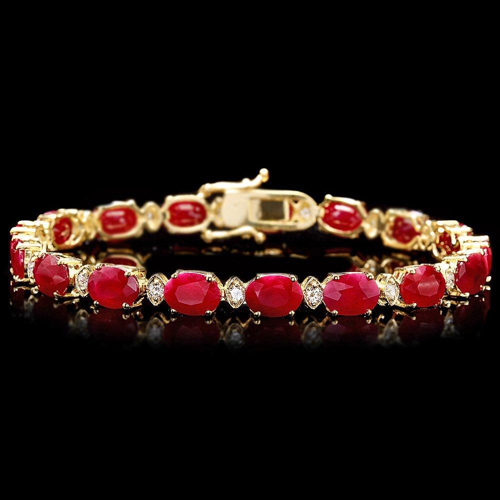 14k Gold 25.00ct Ruby 1.00ct Diamond Bracelet