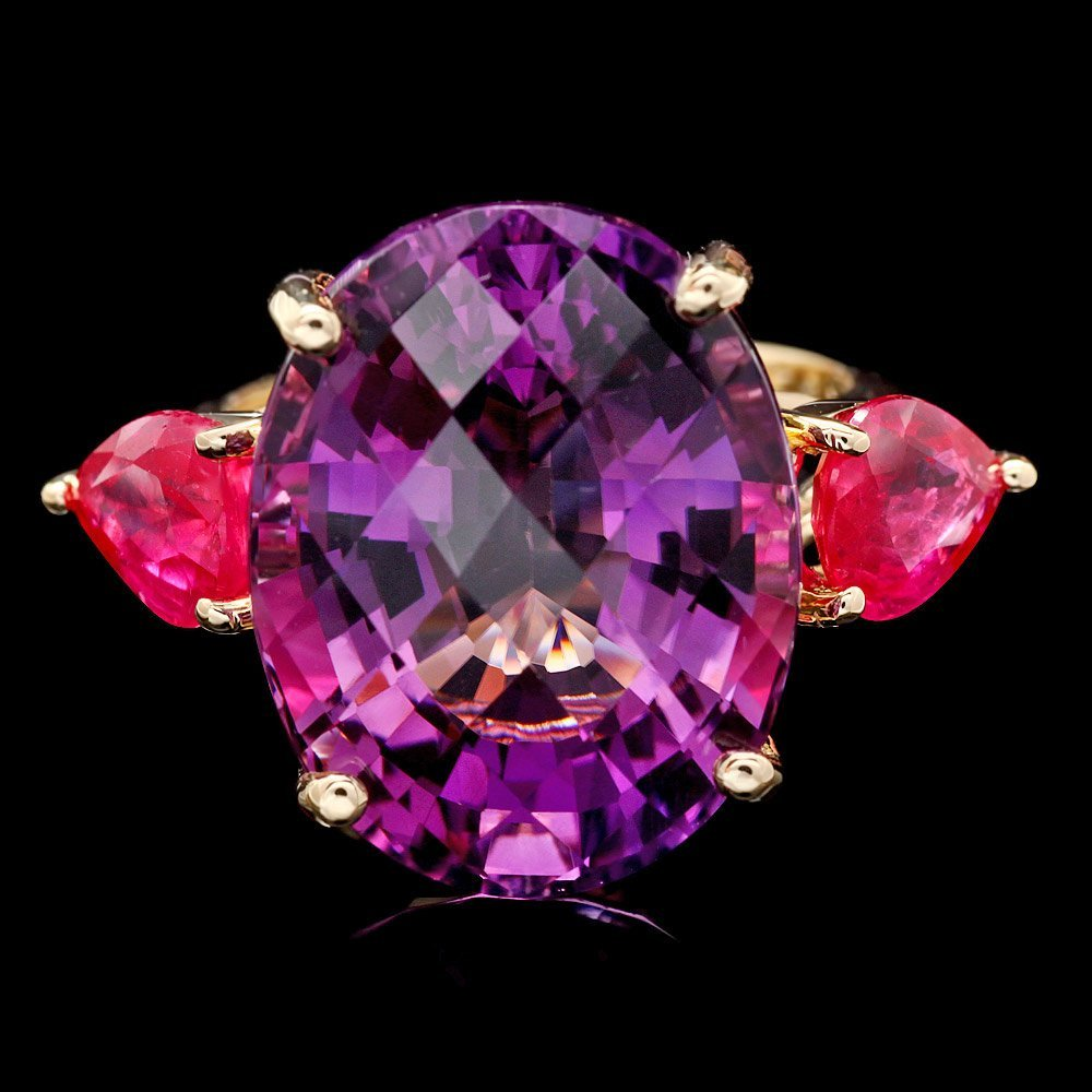 14k Yellow Gold 15.70ct Amethyst 2.45ct Ruby Ring