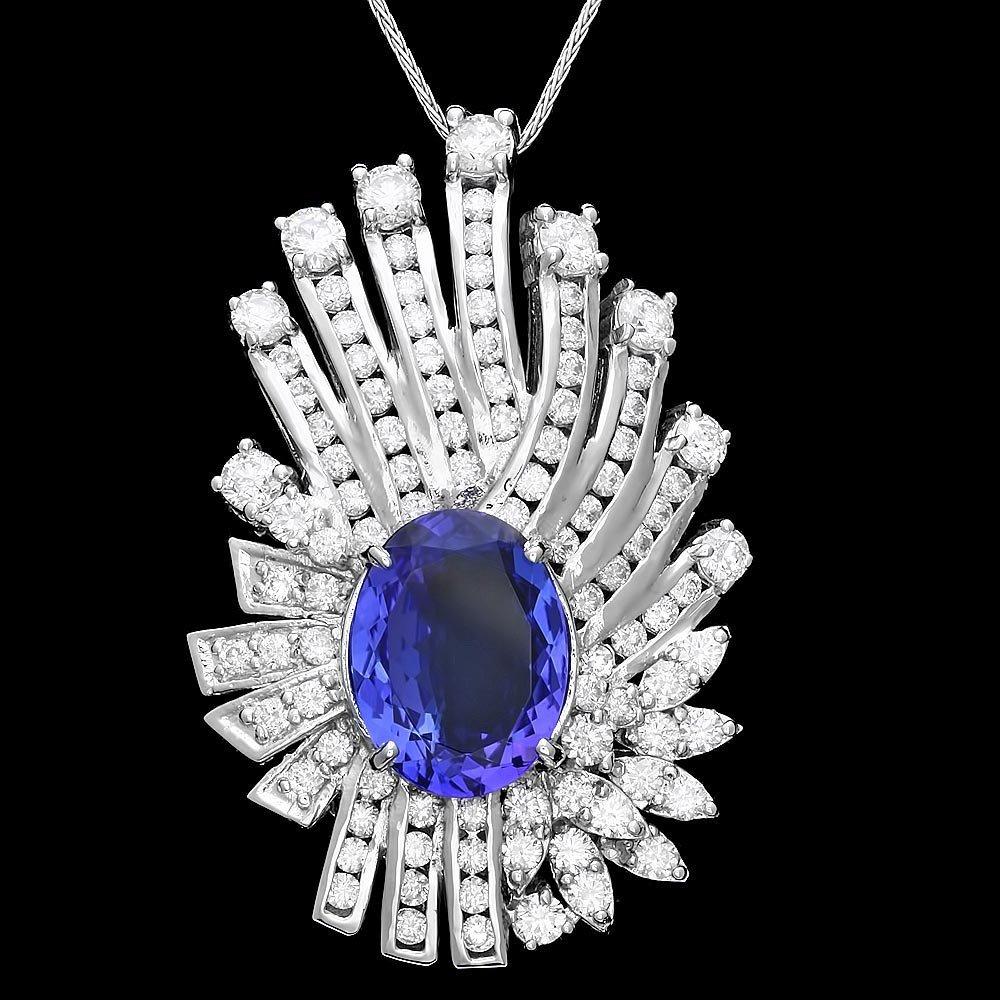 14k Gold 6.20ct Tanzanite 3.60ct Diamond Pendant