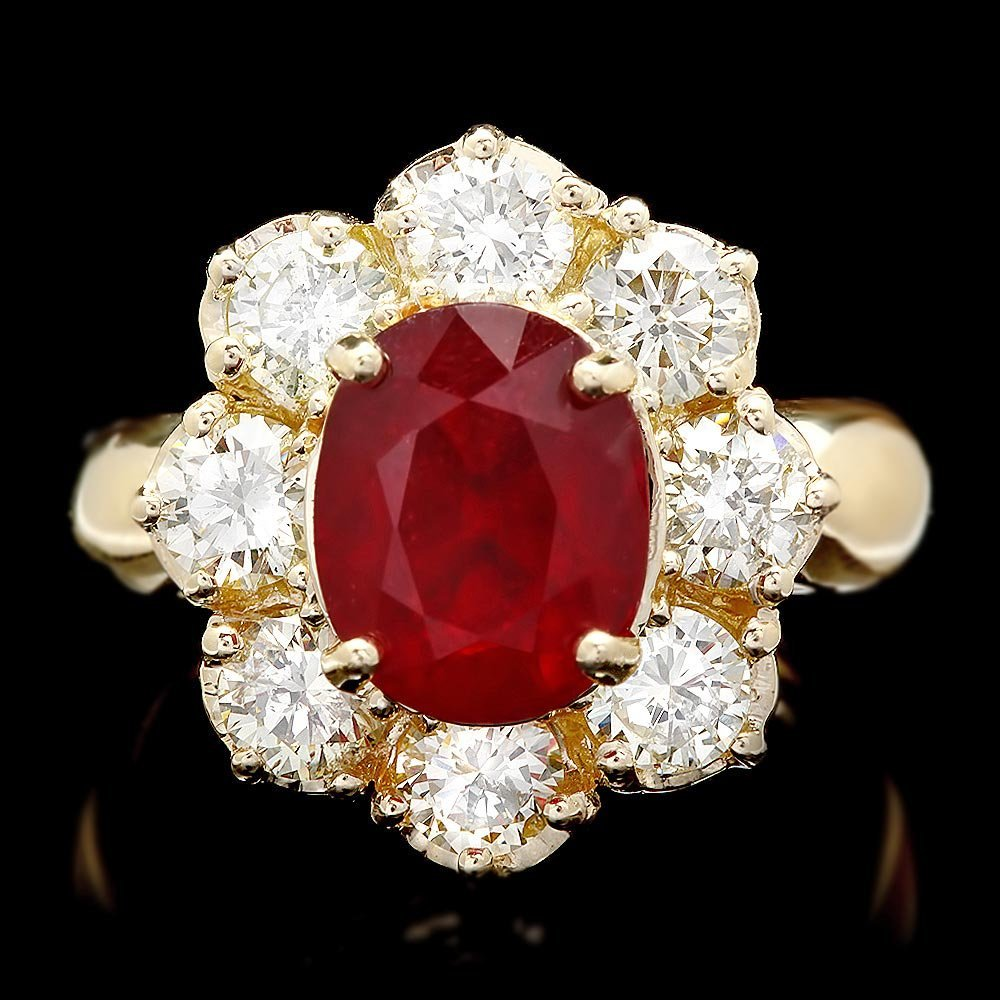 14k Yellow Gold 4.00ct Ruby 2.25ct Diamond Ring
