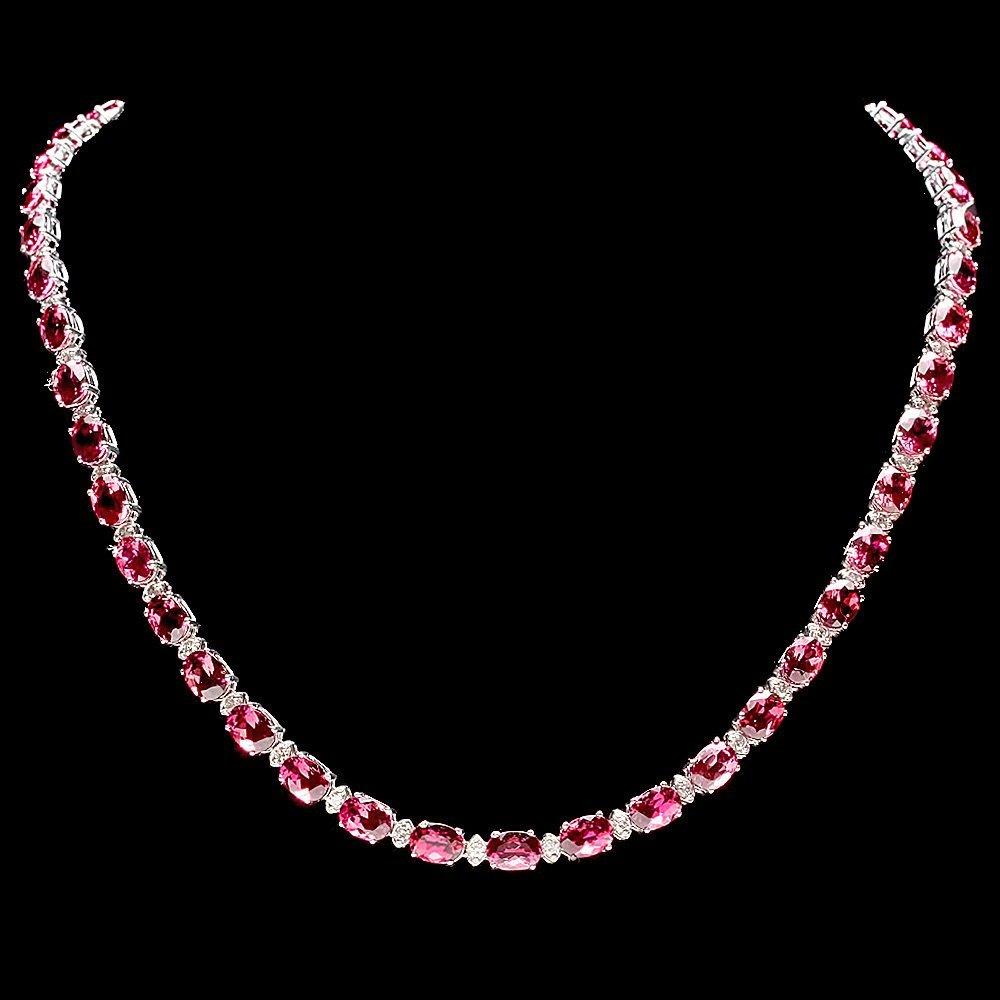 14k Gold 36ct Tourmaline 1.75ct Diamond Necklace