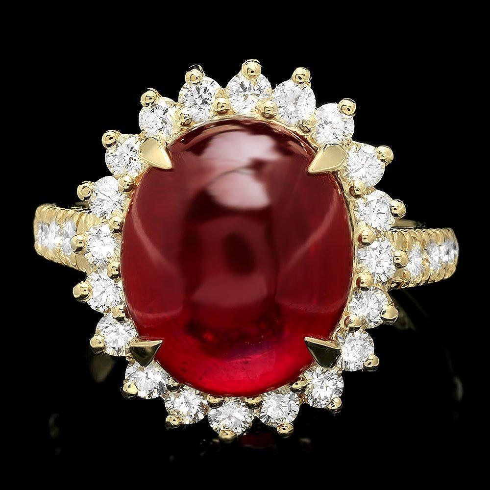 14k Yellow Gold 9.50ct Ruby 1.10ct Diamond Ring