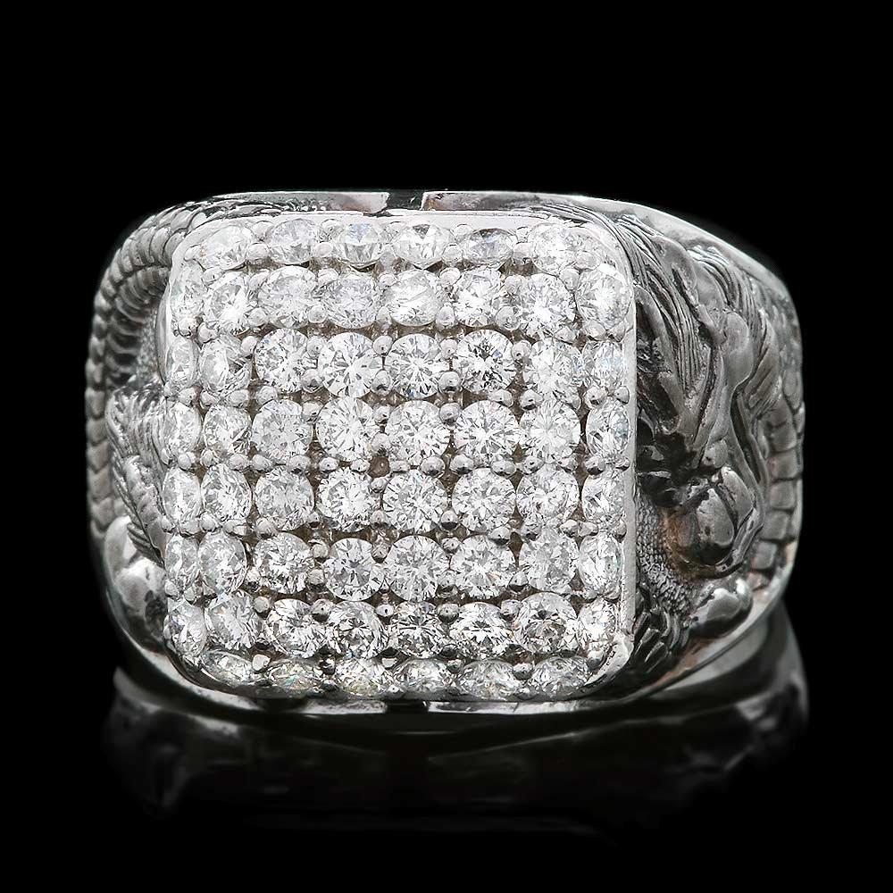 14k White Gold 2.00ct Diamond Mens Ring