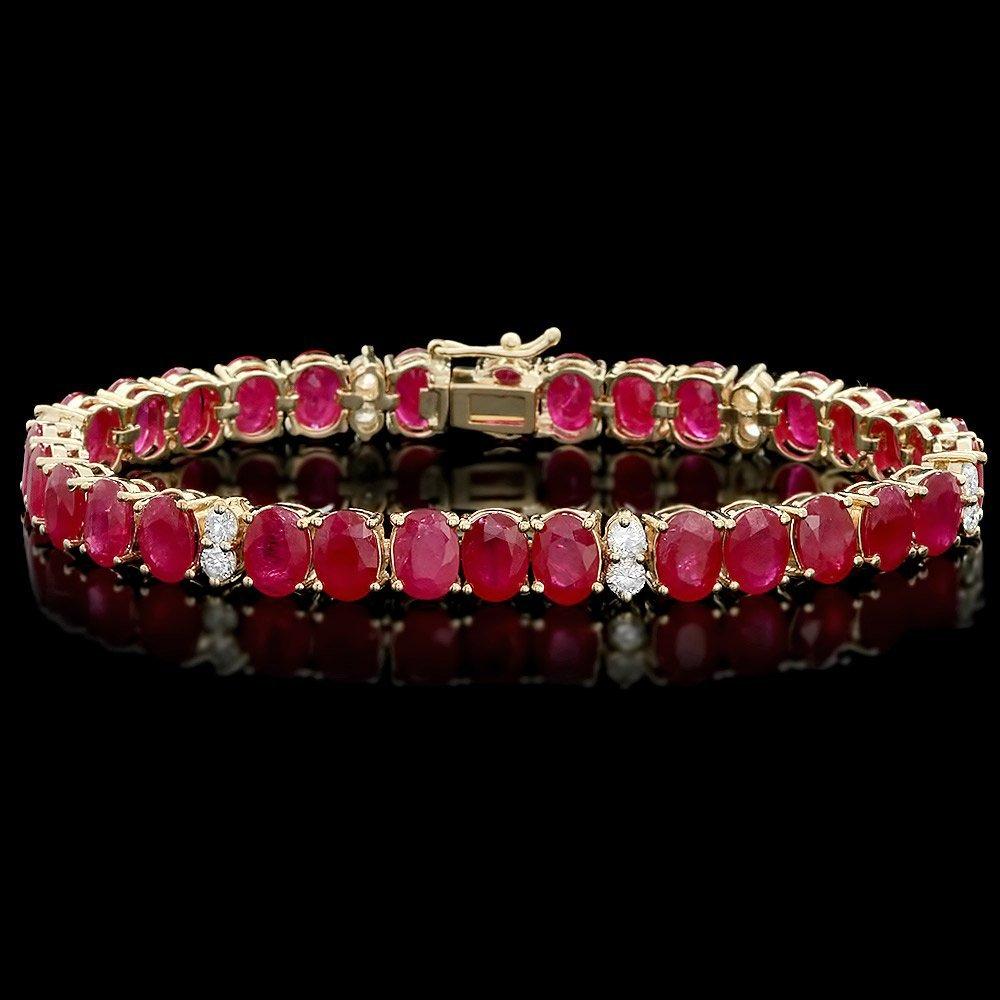 14k Gold 30.00ct Ruby 1.25ct Diamond Bracelet