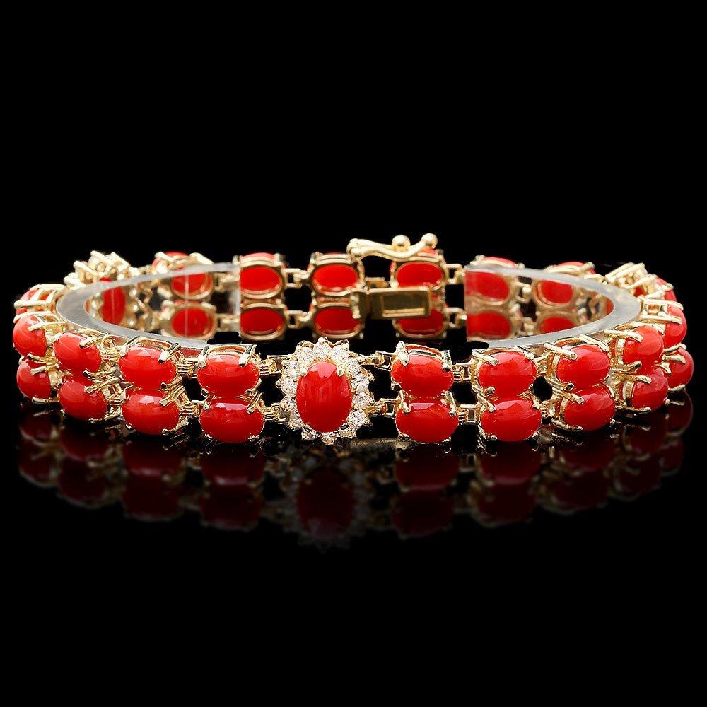 14k Gold 25ct Coral 1.40ct Diamond Bracelet