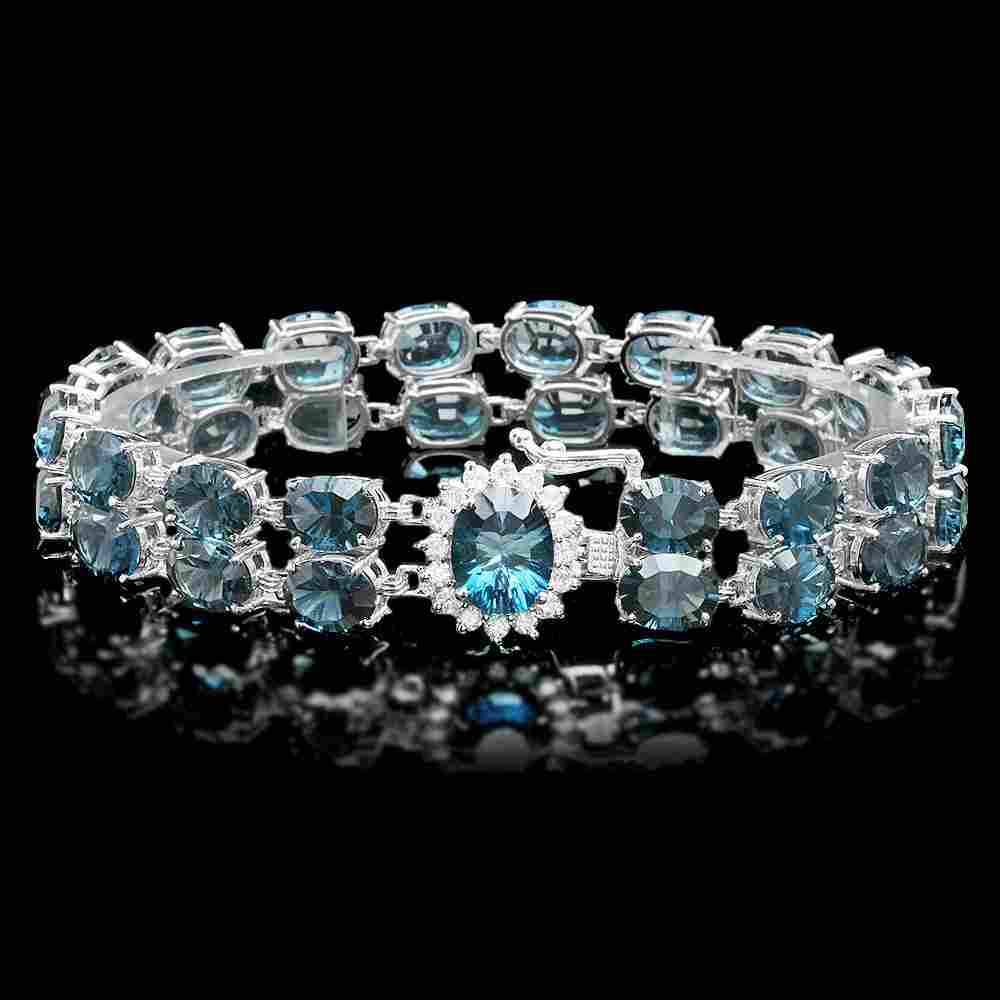 14k Gold 48.5ct Topaz 0.60ct Diamond Bracelet