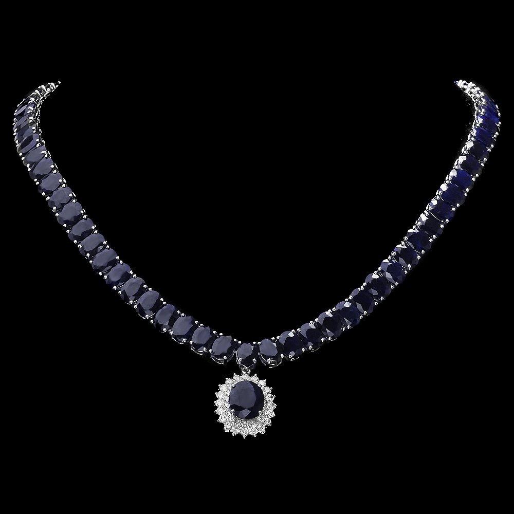 14k Gold 105ct Sapphire 1.50ct Diamond Necklace