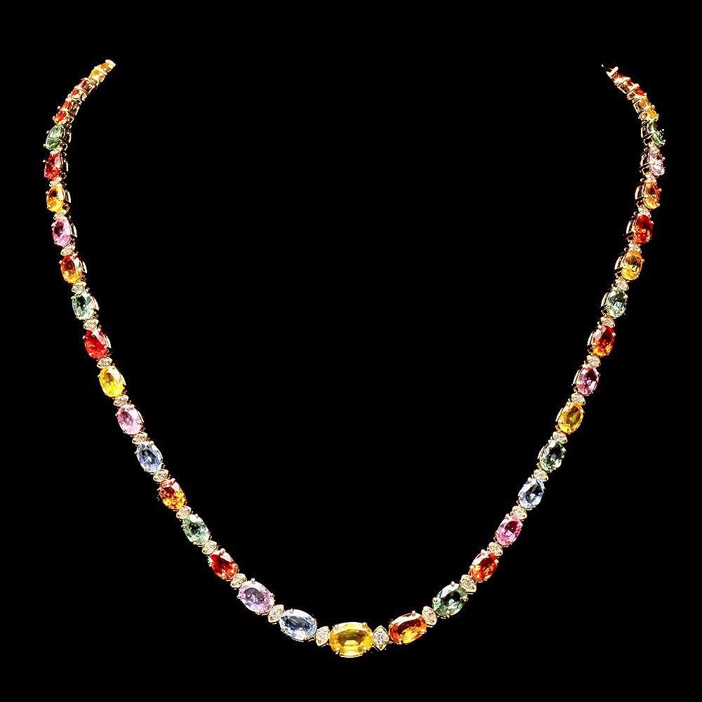 14k Gold 30.00ct Sapphire 1.20ct Diamond Necklace