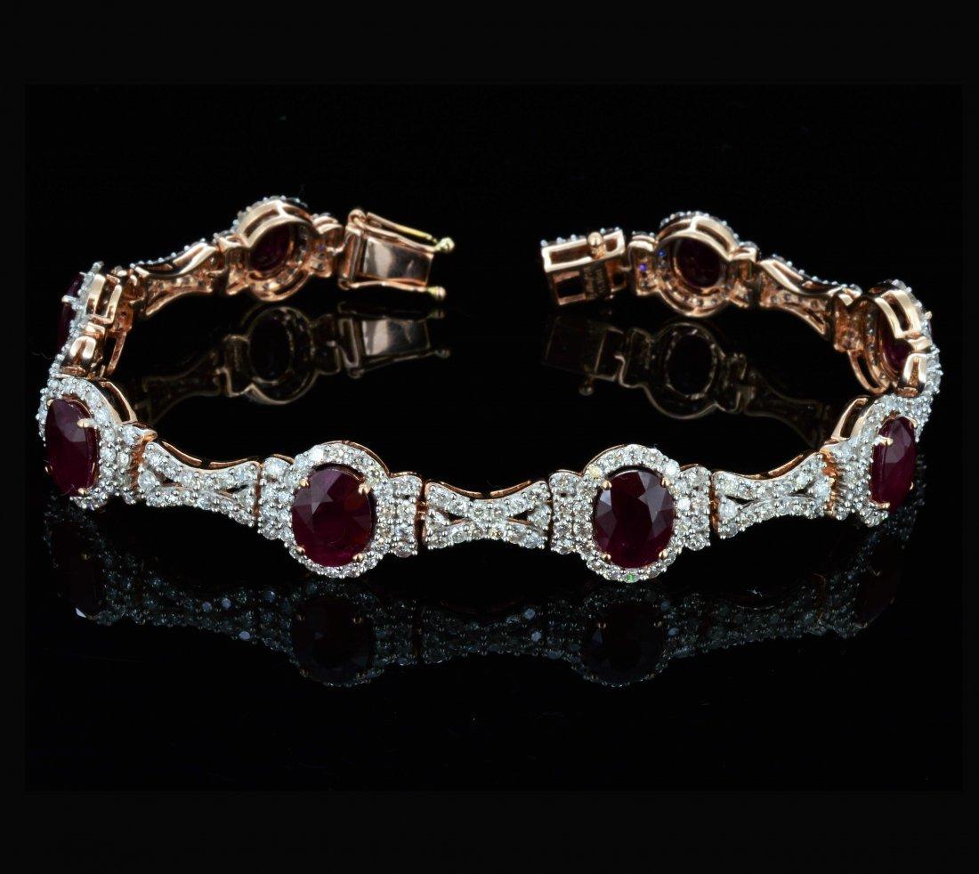 14K Gold, 11.30CT Ruby & 4.42CT Diamond Bracelet