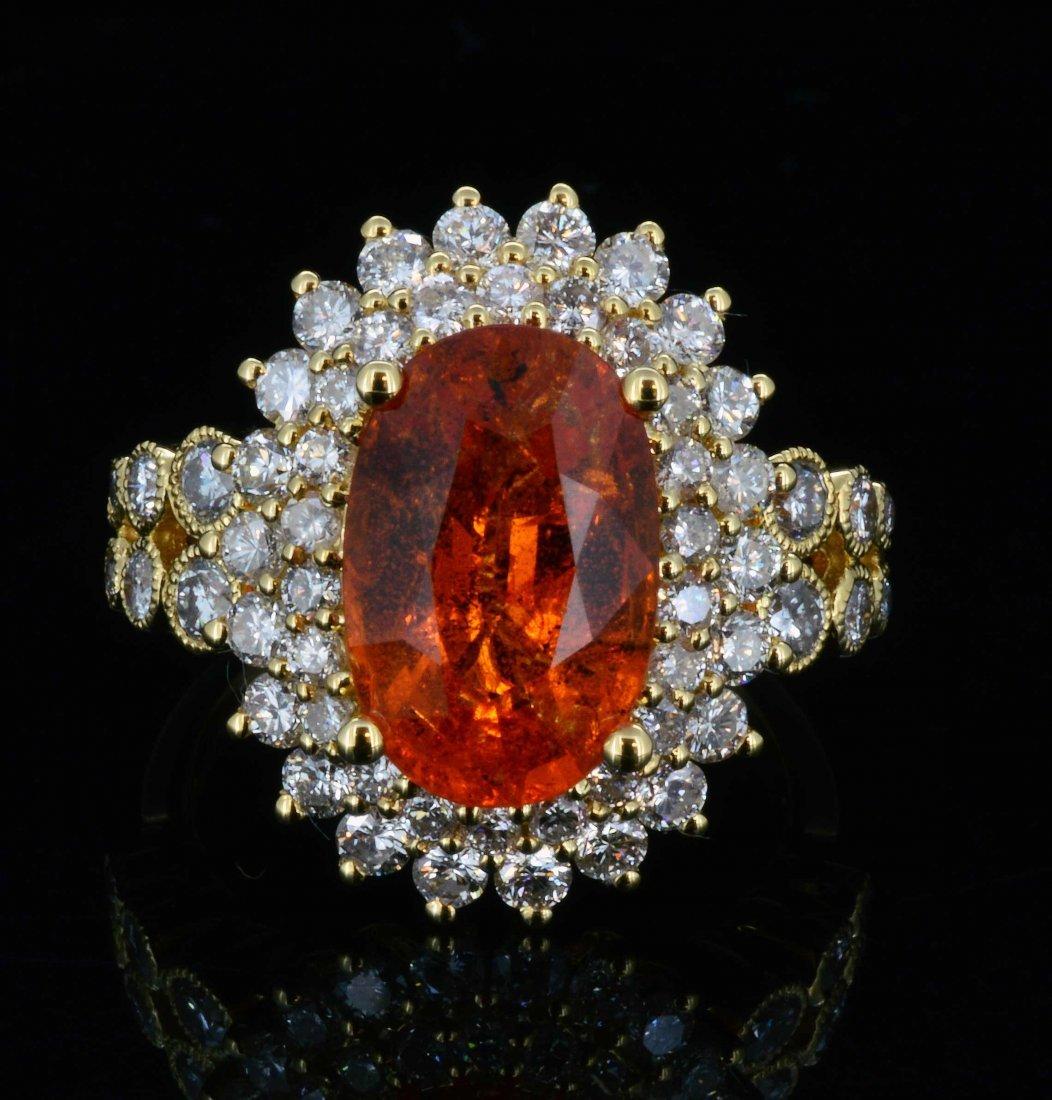 18K Gold, 5.17CT Spessartite & 1.66CT Diamond Ring