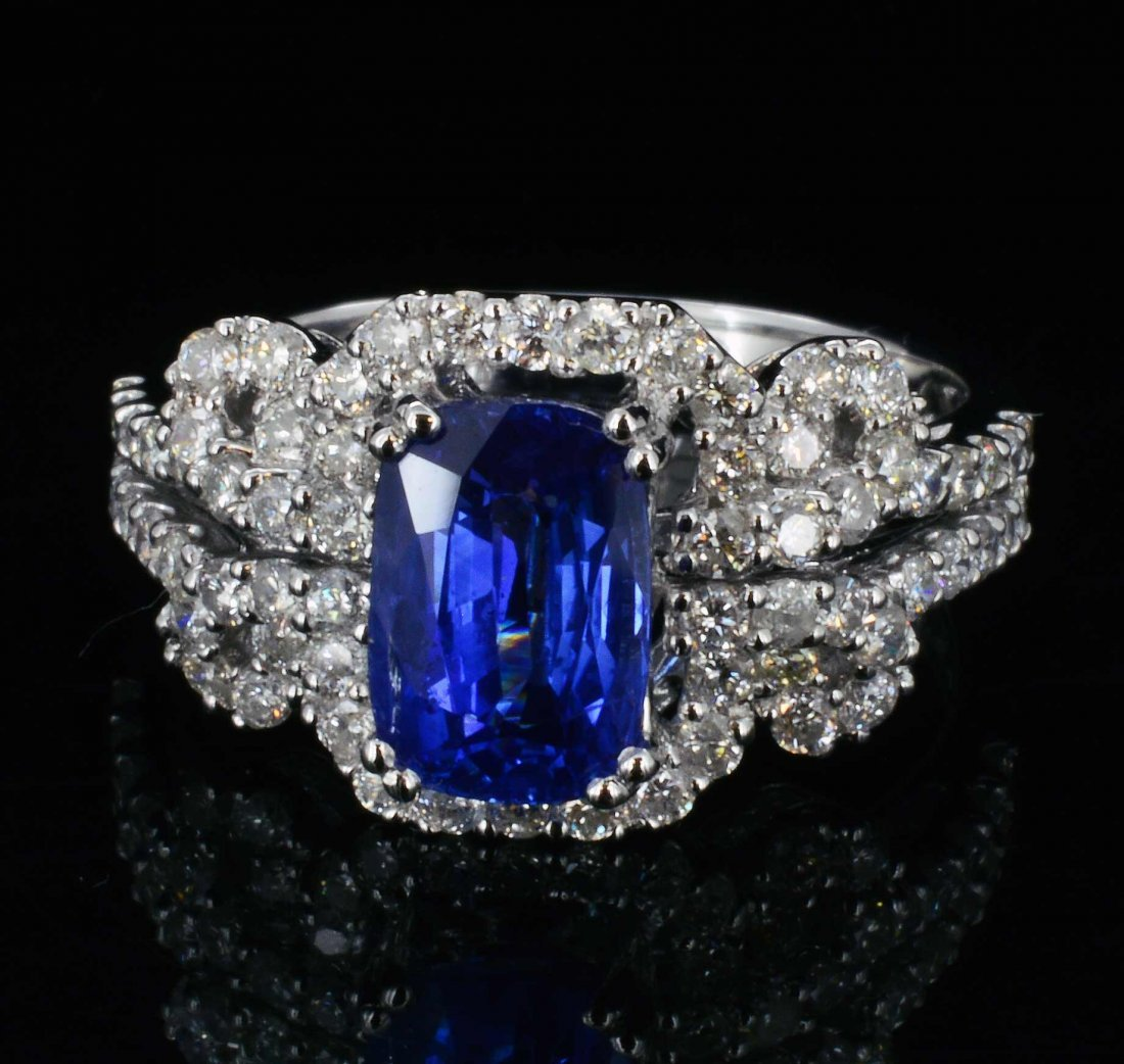 18K Gold, 2.10CT Sapphire & 0.89CT Diamond Ring