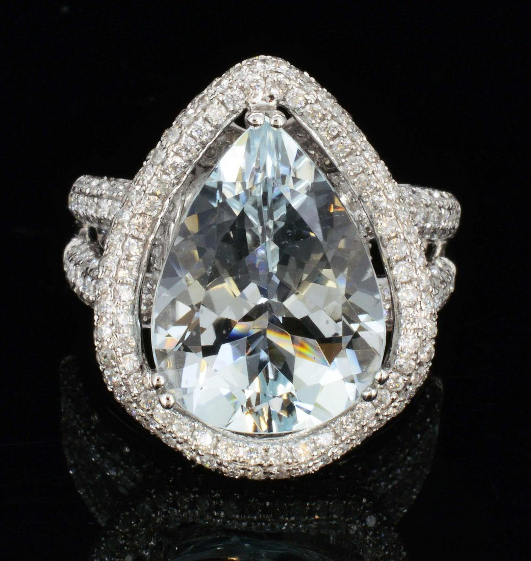 18K Gold, 5.68CT Aquamarine & 1.35 CT Diamond Ring