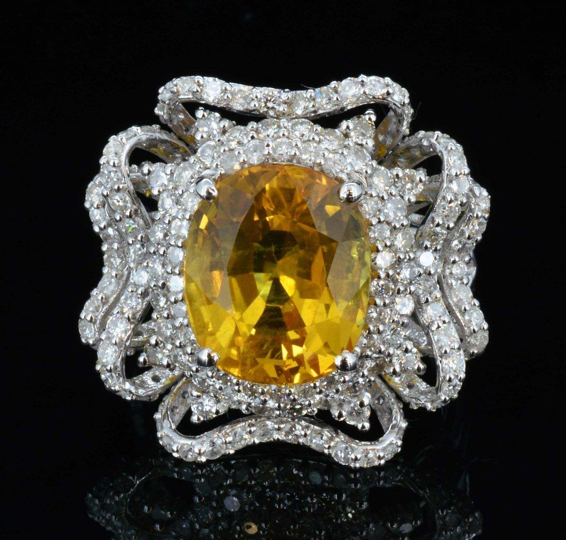 18K Gold, 7.63CT Yellow Sapphie & 1.60 CT Diamodn Ring