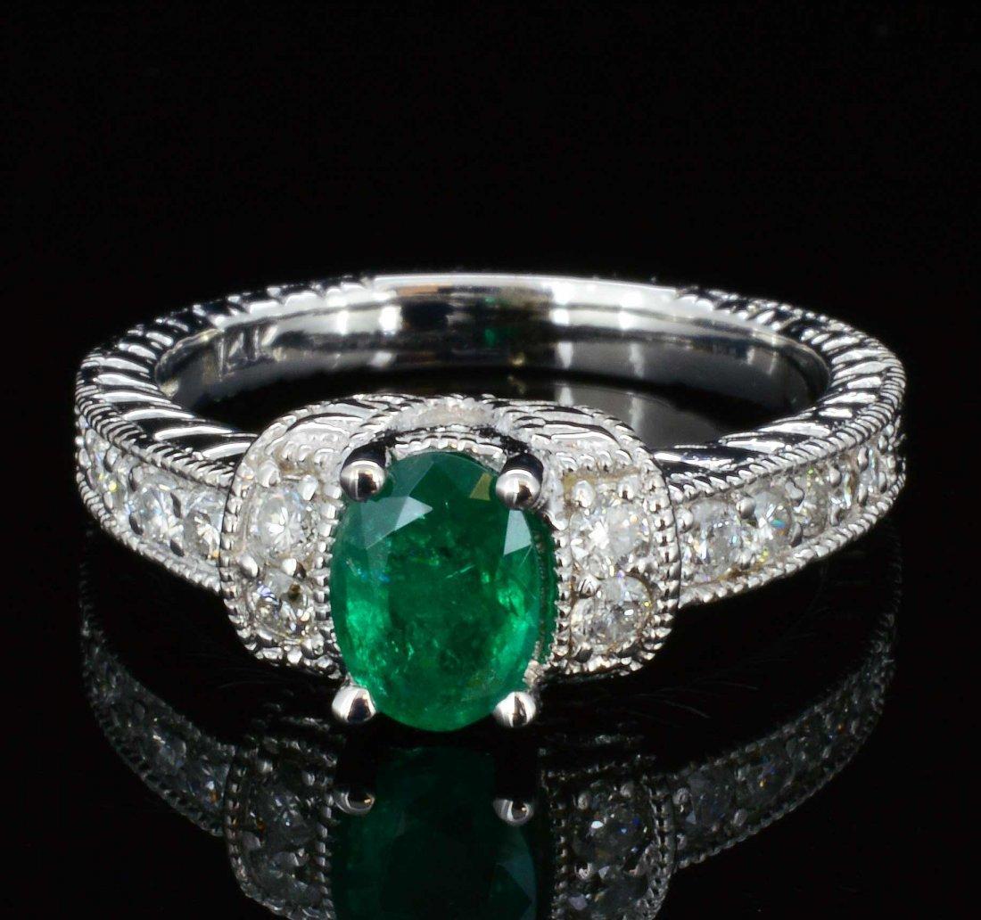 14K Gold, 0.76CT Natural Emerald & Diamond Ring