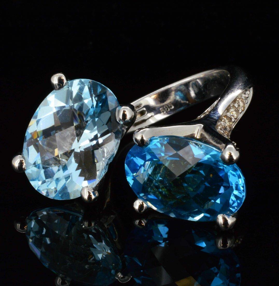 14K Gold, 17.21CT Topaz & 0.75CT Diamond Ring